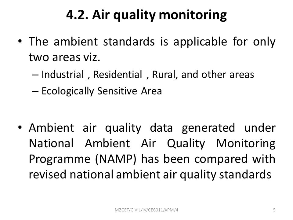4.2. Air quality monitoring