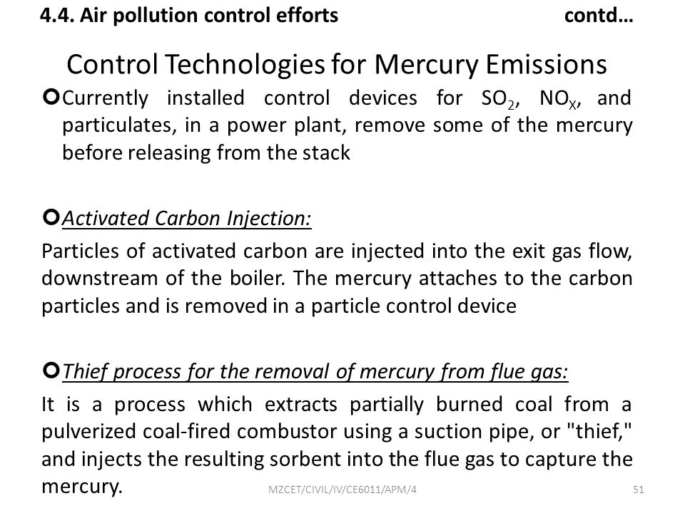 Control Technologies for Mercury Emissions