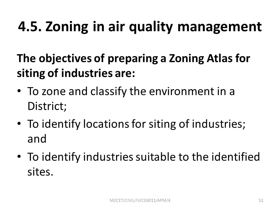 4.5. Zoning in air quality management