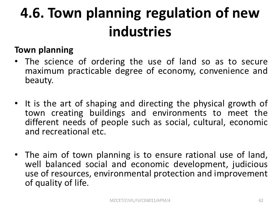 4.6. Town planning regulation of new industries