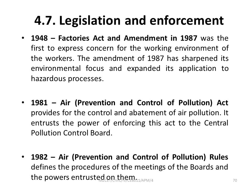 4.7. Legislation and enforcement