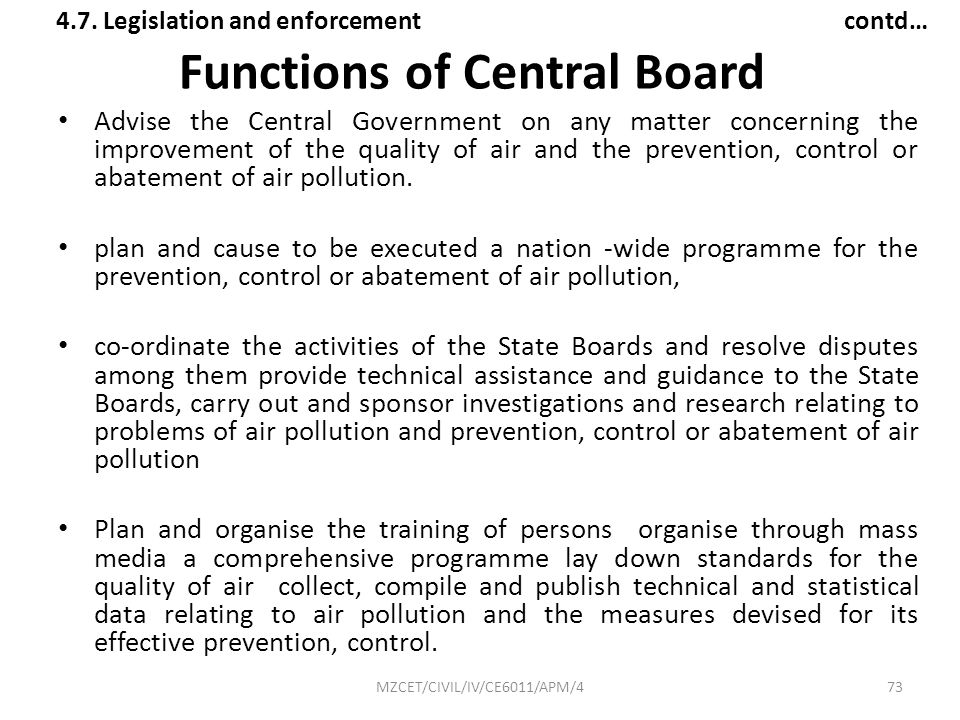 Functions of Central Board