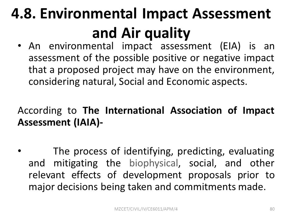 4.8. Environmental Impact Assessment and Air quality