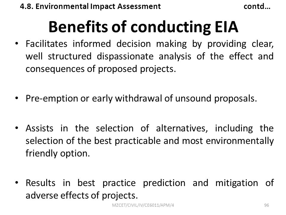 Benefits of conducting EIA