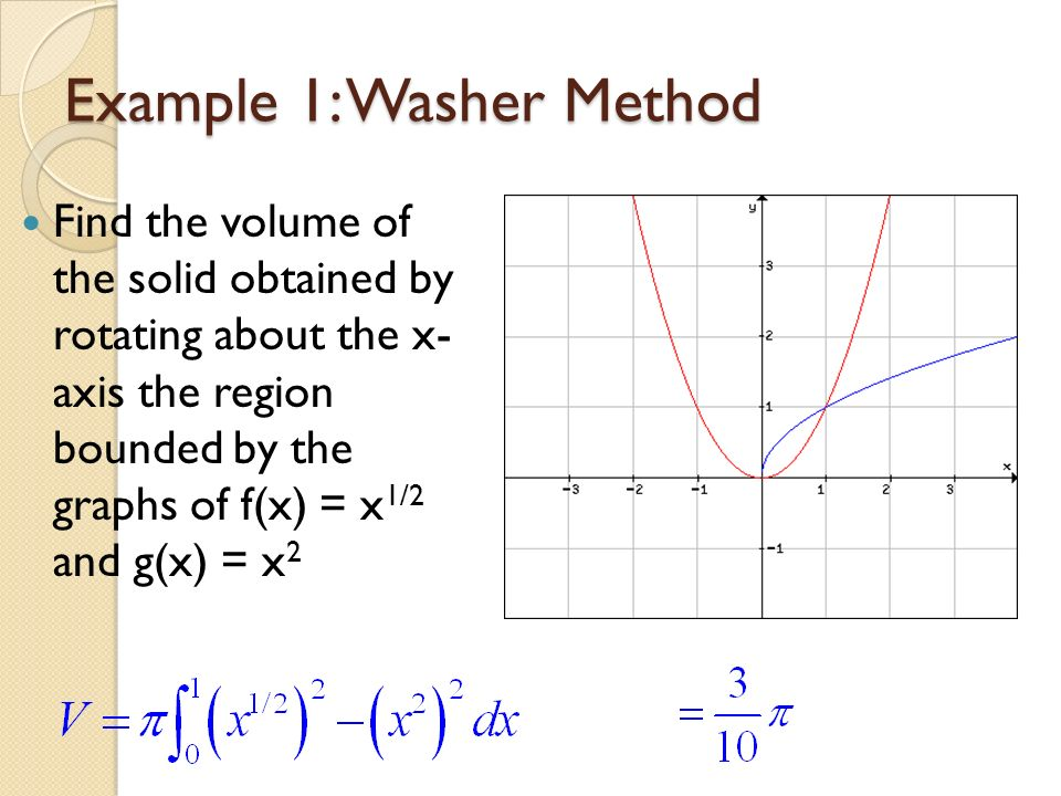 Volumes of solids of rotation the disc method ppt video online example 1 washer method ccuart Gallery