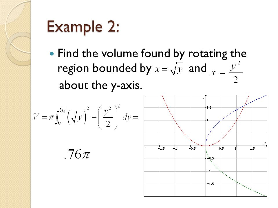 Volumes of solids of rotation the disc method ppt video online example 2 find the volume found by rotating the region bounded by and ccuart Image collections
