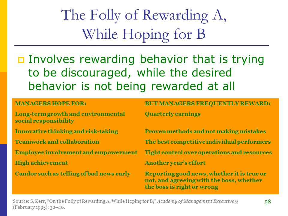"""the folly of rewarding a while In this project, we study the use of performance measurement systems in the public sector  to """"the folly of rewarding a while hoping for b."""