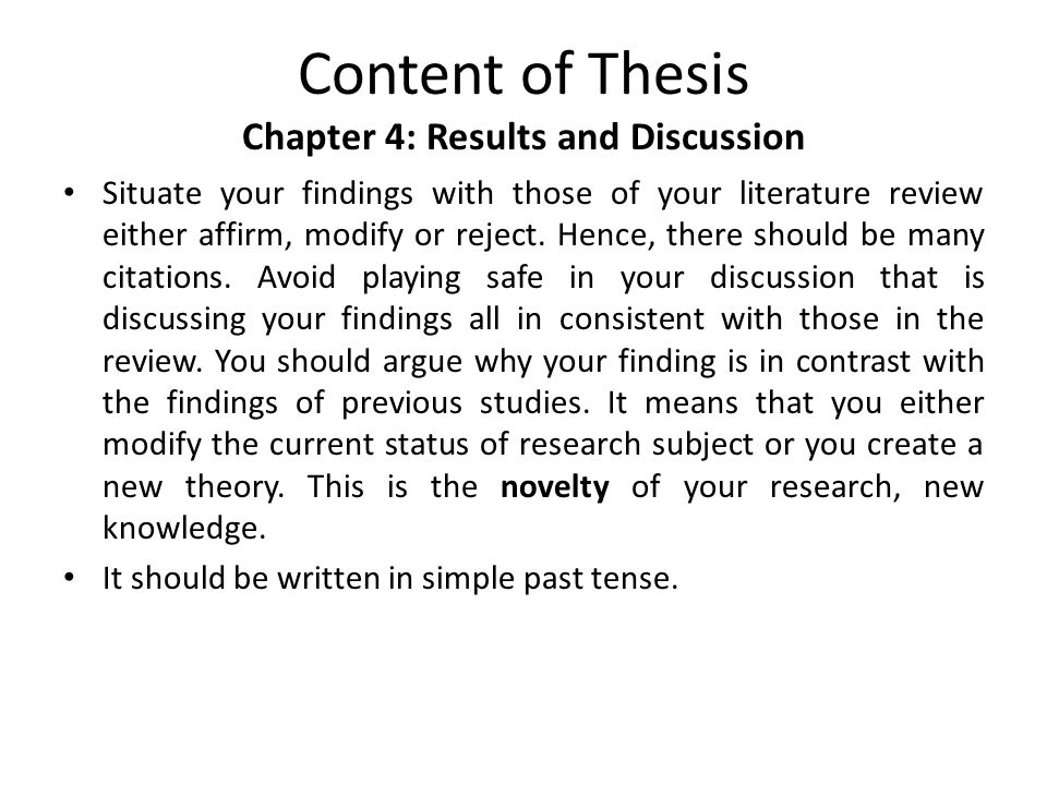 discussion in thesis chapter Structure of the discussion example of the discussion chapter of a bachelor's or master's thesis discussion chapter from a thesis prepared for the degree.