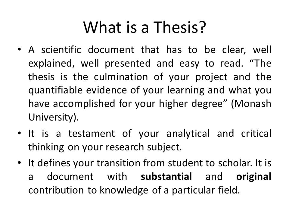What is the purpose of writing a thesis