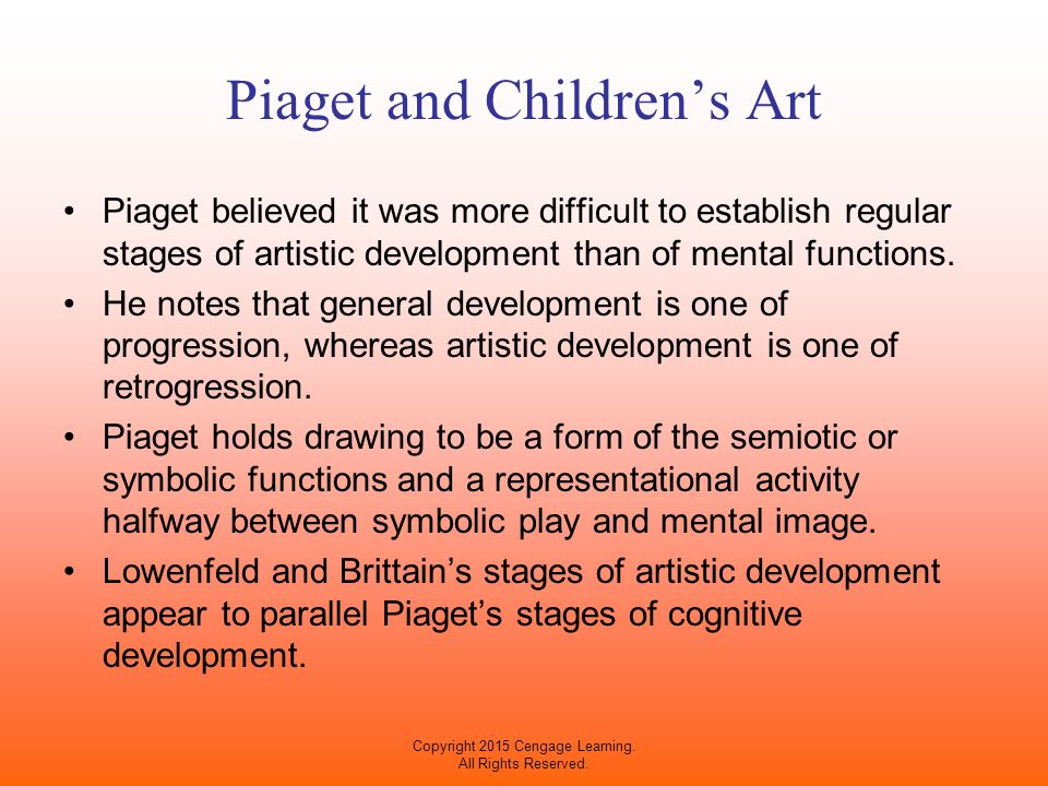 piaget drawing development A number of theoretical models have been offered over the years to explain children's artistic developmentwhile these models  all children begin drawing by .