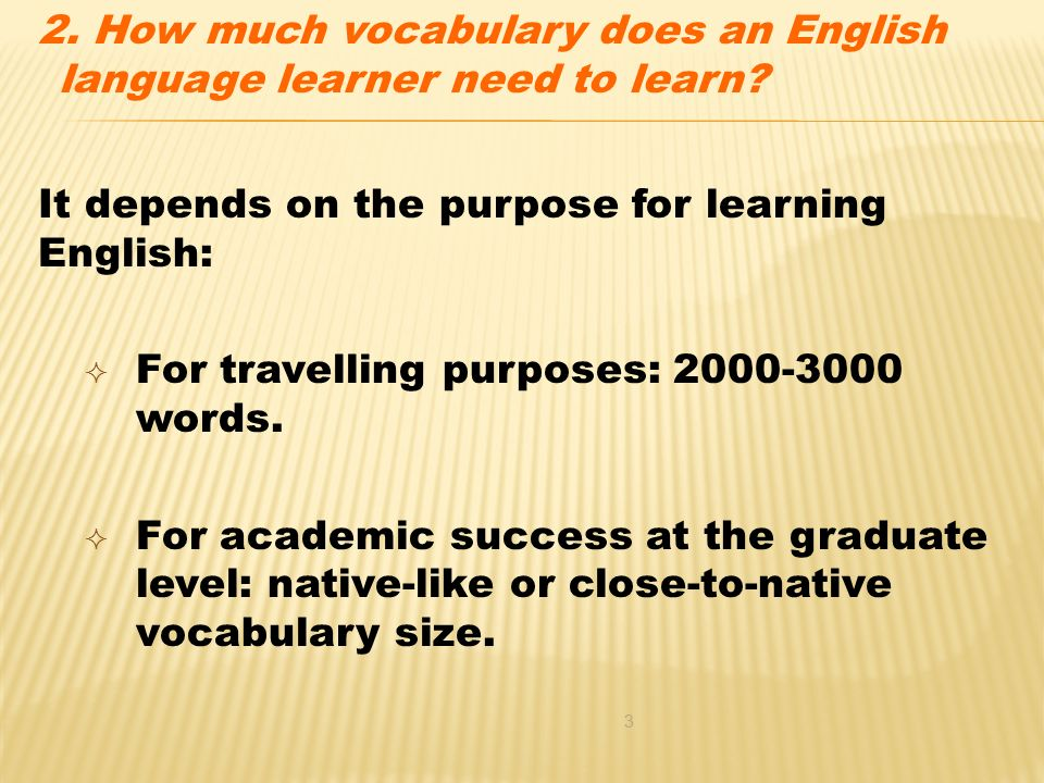 the importance of the size of vocabulary for esl learners Teaching content area vocabulary to english language learners has been reprinted from essential teacher, march, 2008 when i started teaching in an esl pullout program in the 1980s, few materials were available for elementary esl programs.