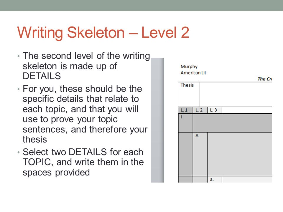 thesis statement skeleton Transcript of essay: lamb to the slaughter talk to your groupmates and decide on a theme (main idea or message you get from the story) for your essay use the theme you have just come up with to create a thesis statement remember to create a thesis with three parts so you can use it to craft your.