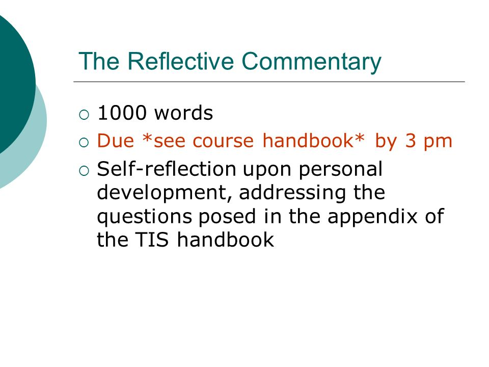 thematic independent studies lecture essay ppt video  the reflective commentary