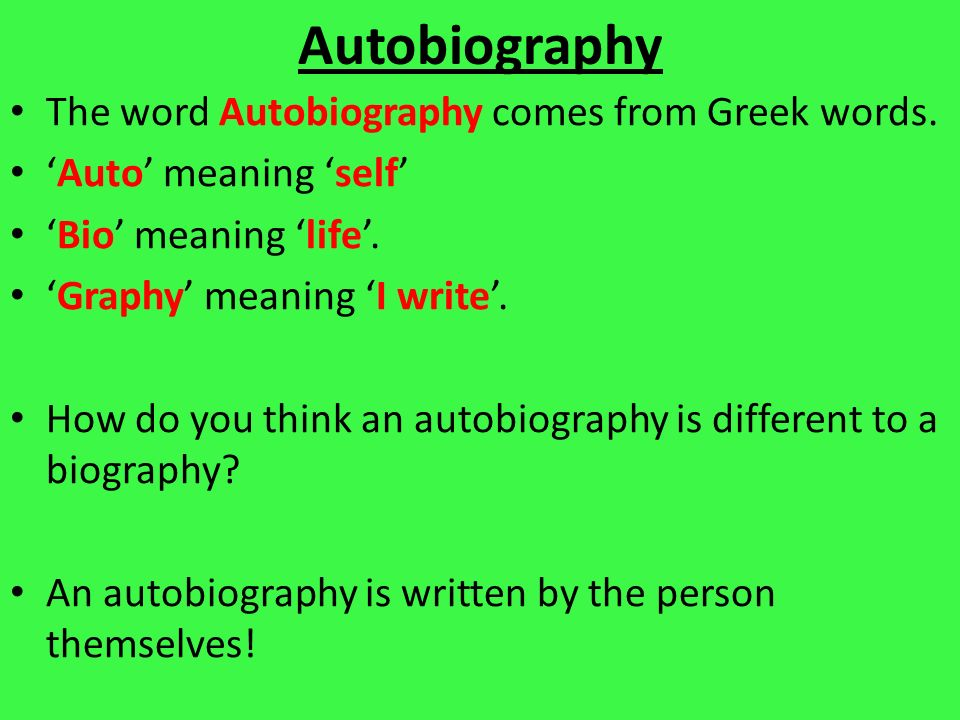 by definition who writes an autobiography