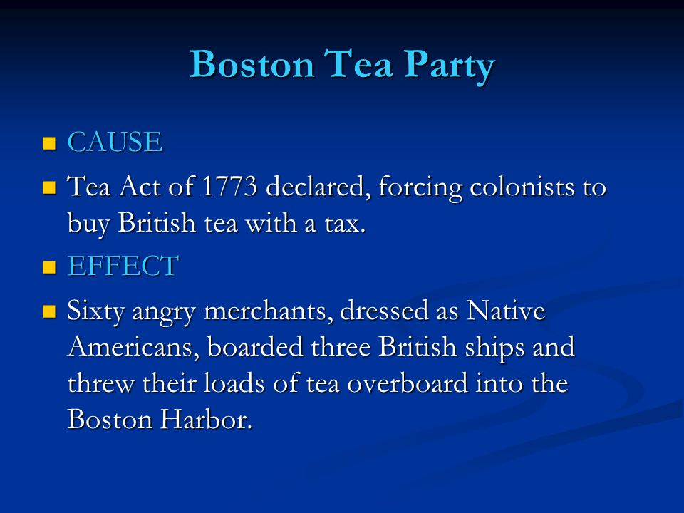 an analysis of the us tea act of 1773 Hist 116: the american revolution  one instance of such resistance occurred  in december 1773, when boston radicals who were frustrated with the tea act   colonial interpretation of and reactions to the tea act: the boston tea party.