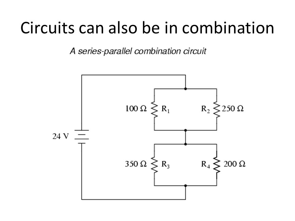 parallel and series combination circuits 2 series & parallel resistive circuits figure 1: series combination of resistors in this case, the same current °ows through both resistors while the voltage from the.