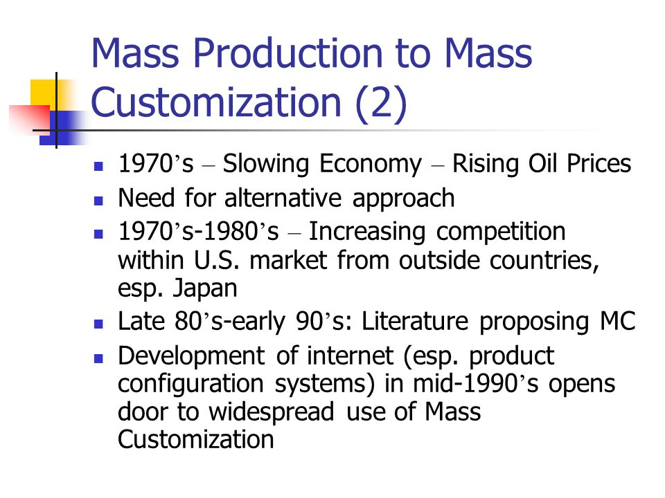 mass production essay The authors take issue with the belief that traditional mass production has been superseded by a single new kind of 'lean' organization invented in japan a.
