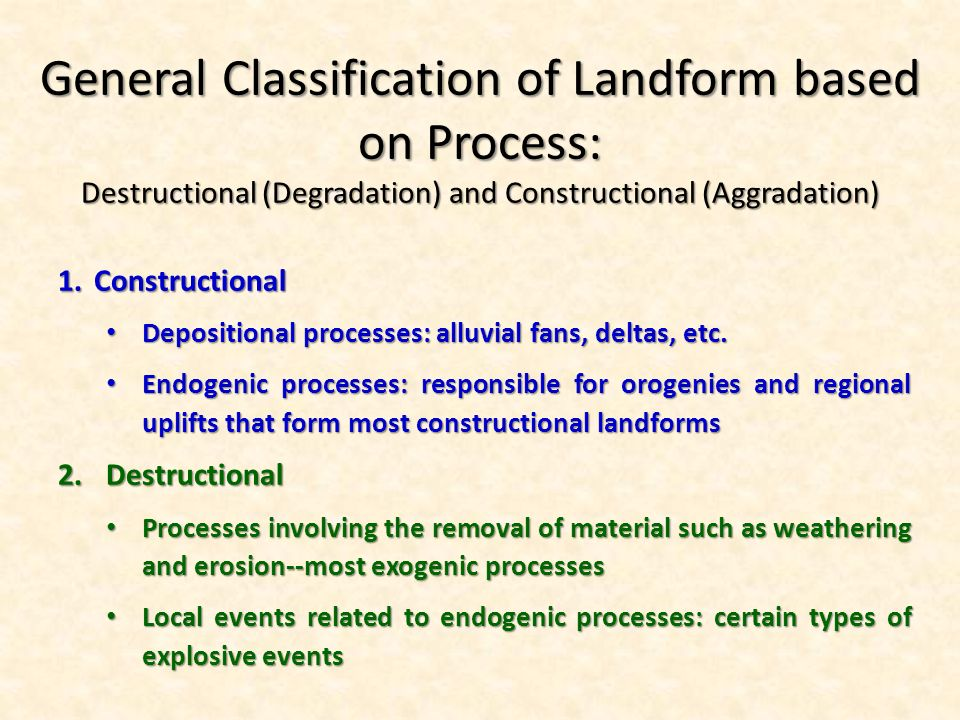 endogenous processes and associated landforms River systems, fluvial processes and landscapes, floodplains what are the erosional and depositional features and the typical landforms created 14.