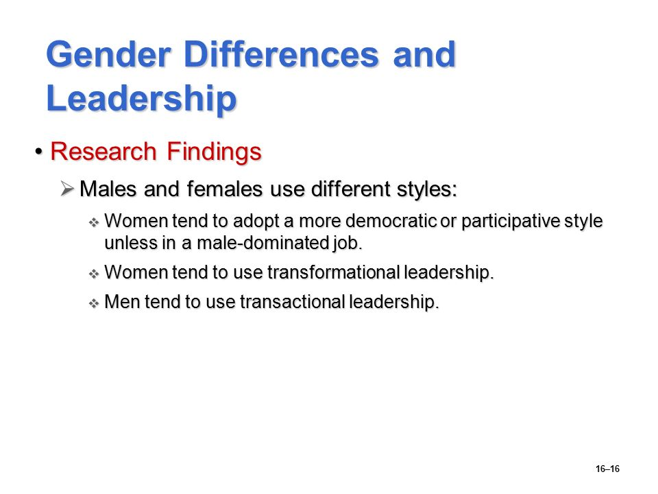 gender differences in leadership styles and 2012-03-01  gender differences and leadership styles in a non secular setting  & johannesen-schmidt, m c (2001) the leadership styles of women and men journal of social issues, 57,  gender differences in leadership:.