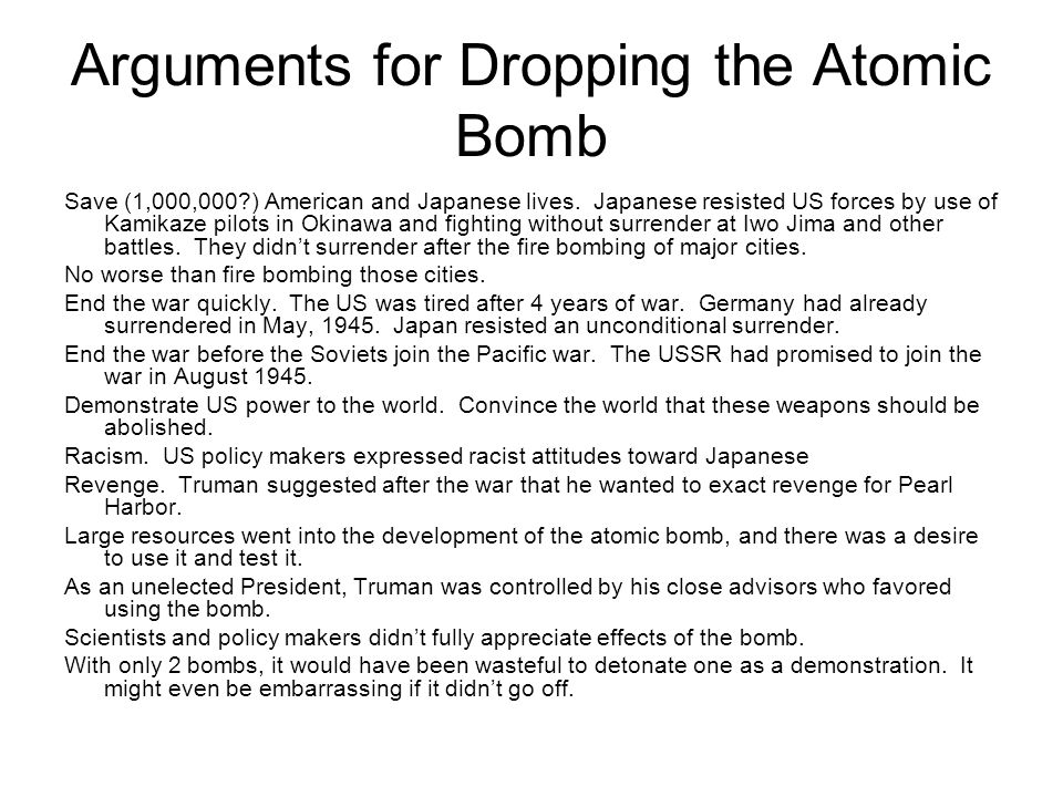 What were Japan's arguments against America dropping the atom bombs?