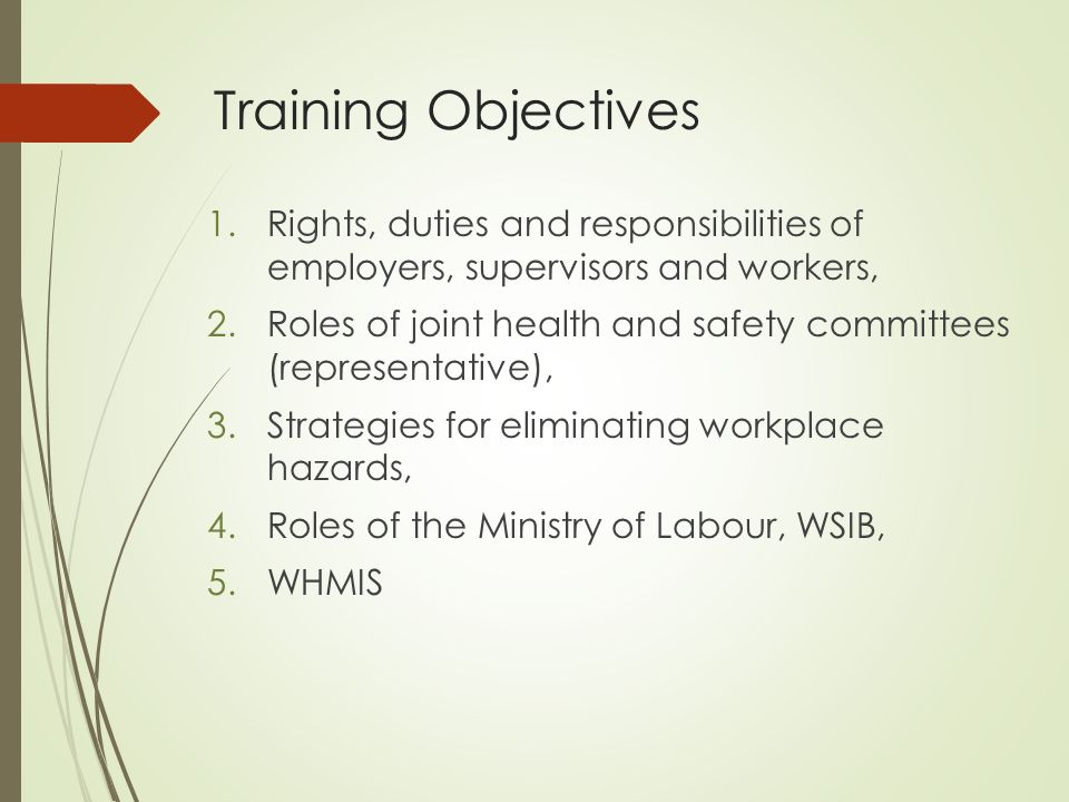 rights and duties of workers Seeking to ensure that the workers' rights (human rights) are respected seeking to ensure the health and safety of co-workers is not compromised balancing the need of the individual worker for accommodation and the interests of the bargaining unit members as a whole.