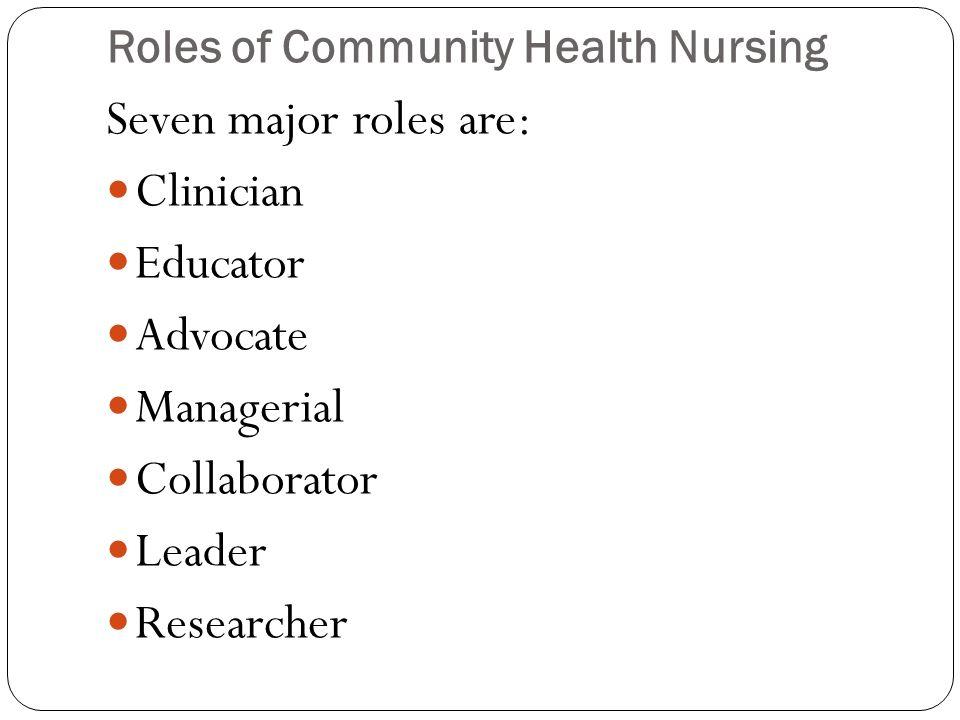 Roles of Community Health Nursing