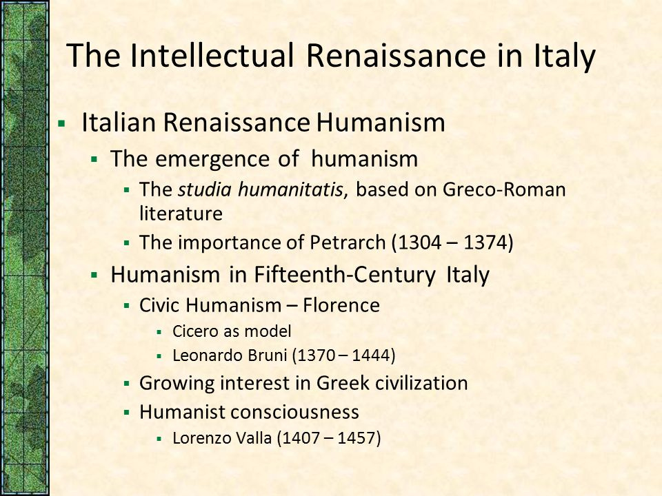 italian renaissance humanism essay Paper, order, or assignment requirements discuss how the work of francesco petrarch and christine de pisan embodies the values of italian humanism that we discussed.