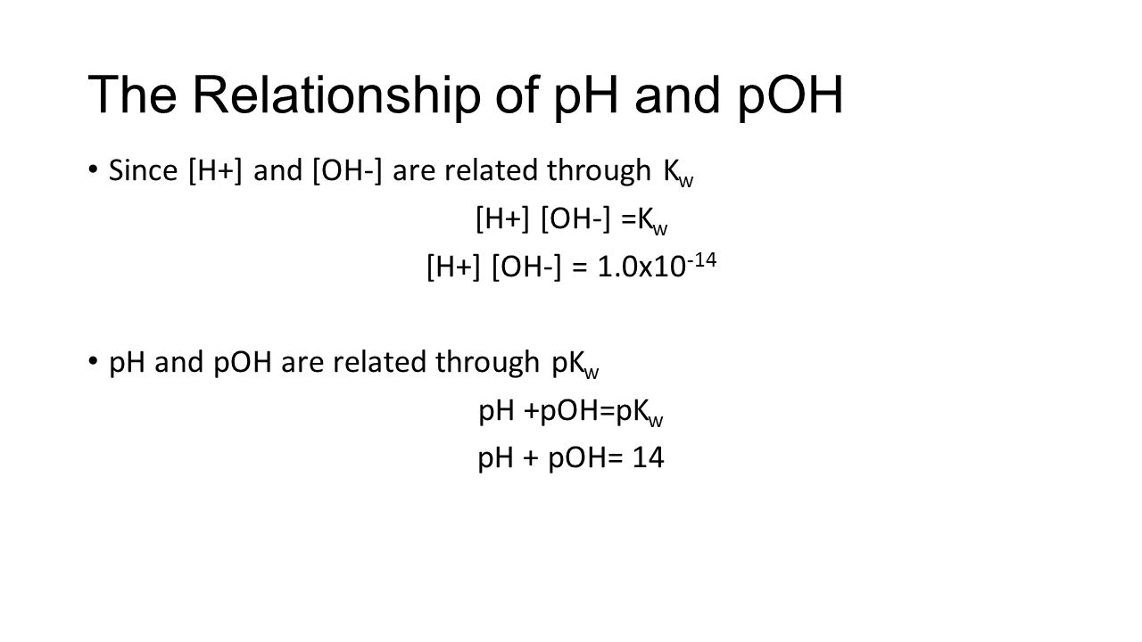 kw relationship between ph poh