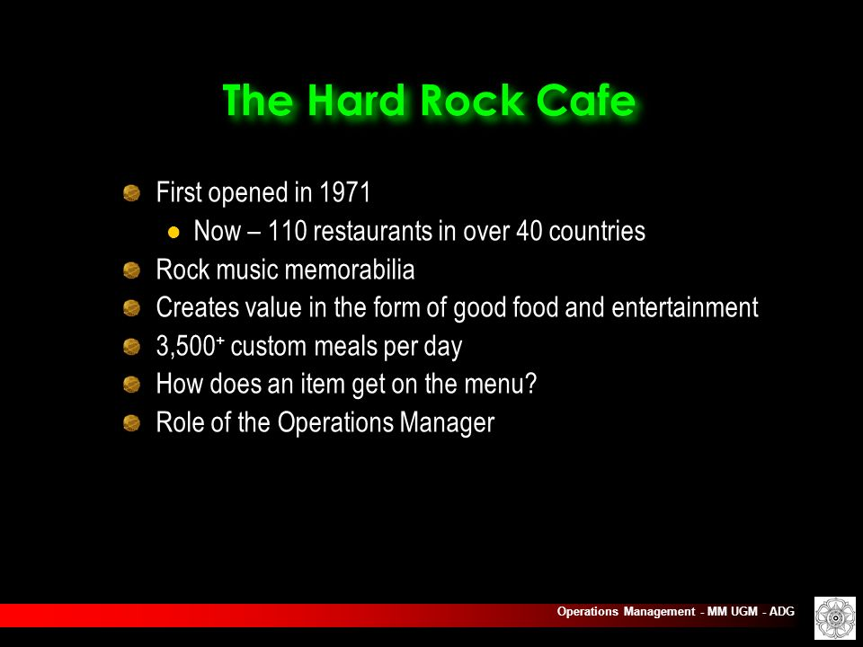 Hard Rock Cafe Inc. Operations Management & Productivity