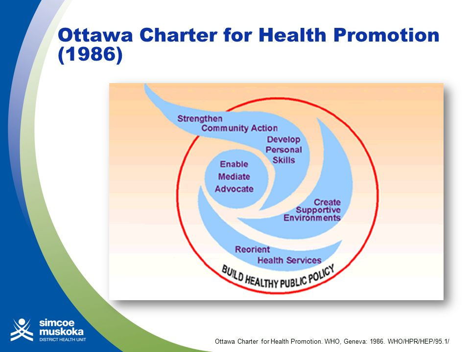 ottawa charter influences health promotion The ottawa charter are indeed relevant to mental health promotion, the   joblessness and job insecurity, discrimination, and so on, influence.