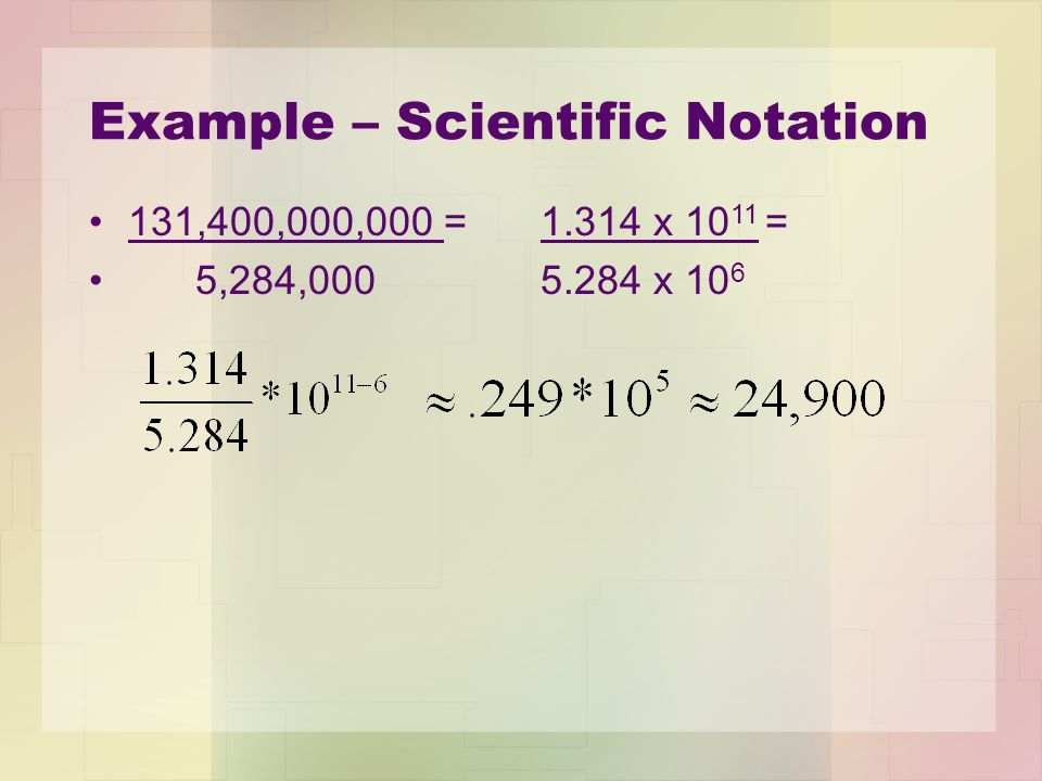 Example – Scientific Notation