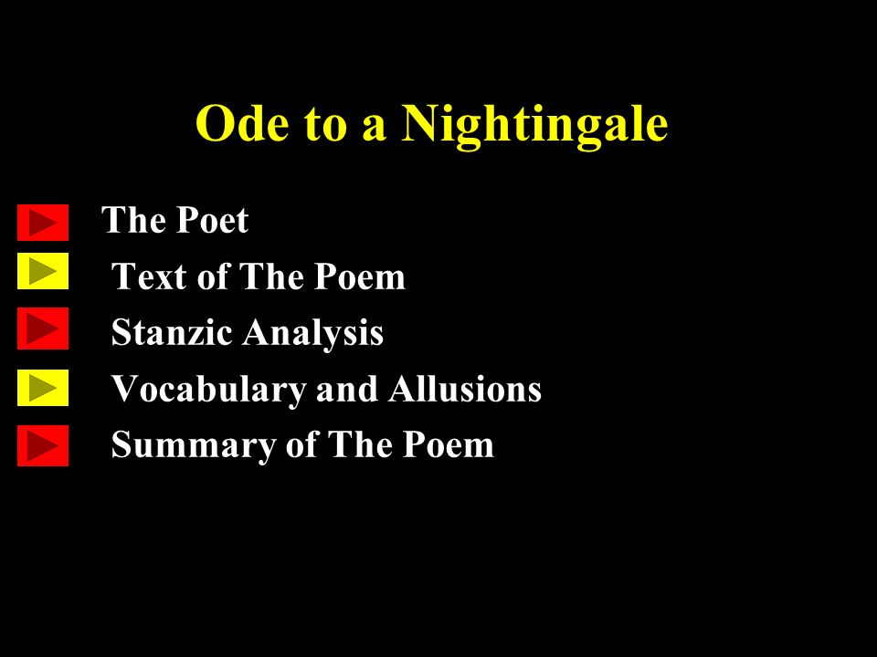Ode to a Nightingale The Poet Text of The Poem Stanzic Analysis ...