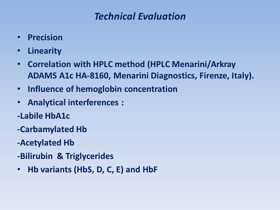 The Capillarys Hb A1C Kit Performances Evaluation - Ppt Video