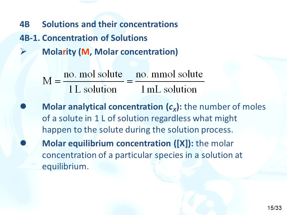 analytical and equilibrium molarity Chapter three: chemical concepts  analytical molarity: totals moles of solute per 1 l of solution equilibrium (species) molarity: m at equilibrium ex:.