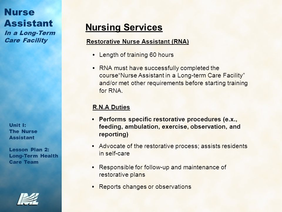 8 nursing services restorative nurse assistant - Duties Of Nurse Assistant