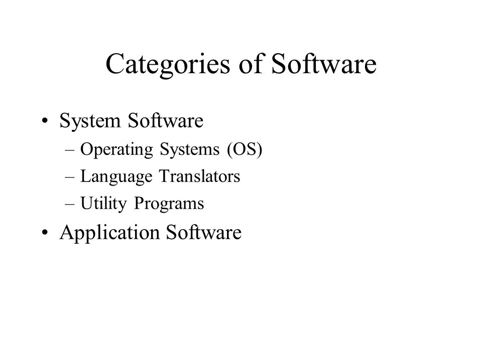 Categories of Software