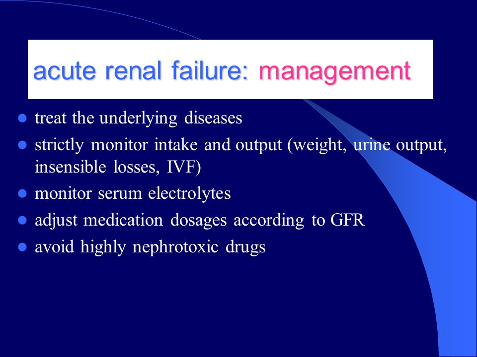 chronic renal failure causes and management Synonym: chronic renal failure chronic kidney disease (ckd) describes abnormal kidney function and/or structure there is evidence that treatment can prevent or delay the progression of ckd, reduce or prevent the development of complications, and reduce the risk of cardiovascular disease (cvd.