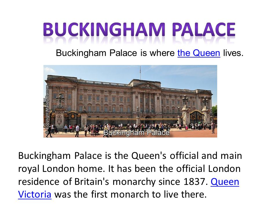 Buckingham Palace Is Where The Queen Lives Ppt Video