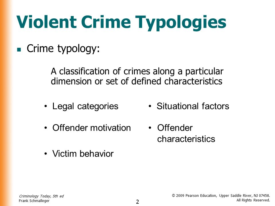 crime typologies Publications stay informed theoretical considerations involved in the development of criminal typologies are examined, along with major existing typologies in.