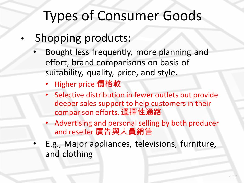 quality of consumers goods This statistic shows the chinese customers' choices between the quality and price of goods as of 2016 according to a survey result, 51 percent of the consumers in china would try to find a.