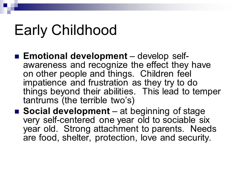 early emotional child development essay Learn the developmental tasks involved in the social and emotional development of children with this helpful overview of erikson occurs during early childhood.