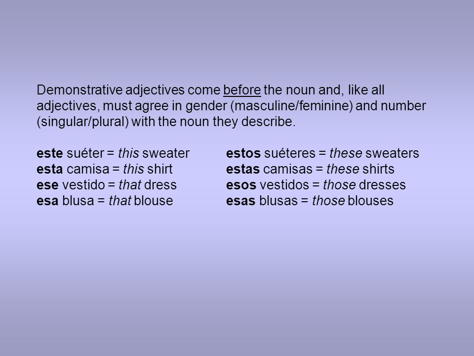 Demonstrative adjectives come before the noun and, like all adjectives, must agree in gender (masculine/feminine) and number (singular/plural) with the noun they describe.
