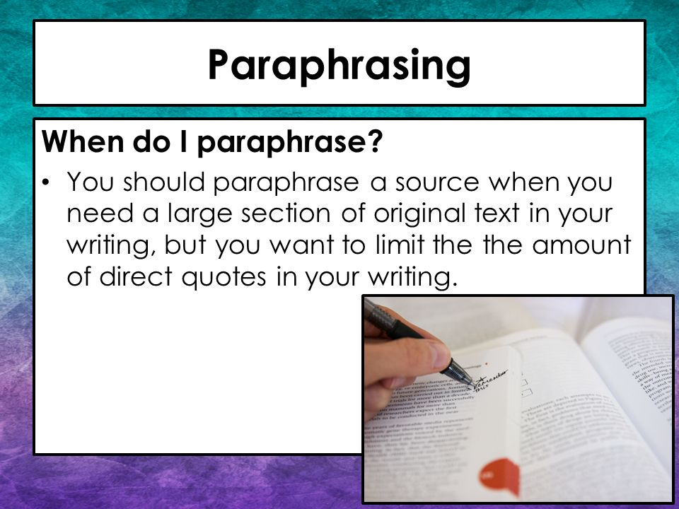 paraphrasing and summarizing Quoting,summarizing & paraphrasing when writing a research paper,  you will be asked to include support for your arguments using sources such as.