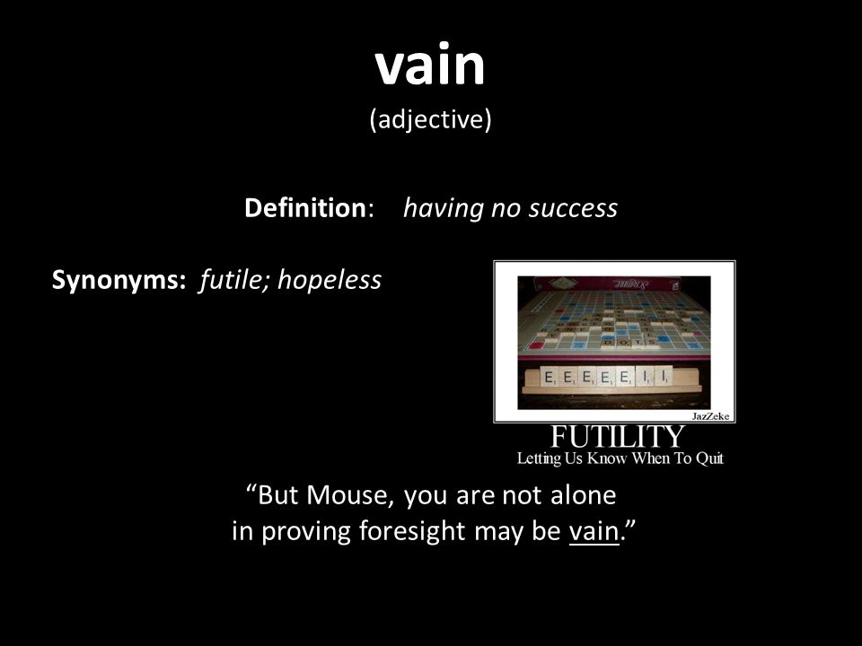 Lovely 2 Vain (adjective) Definition: ...