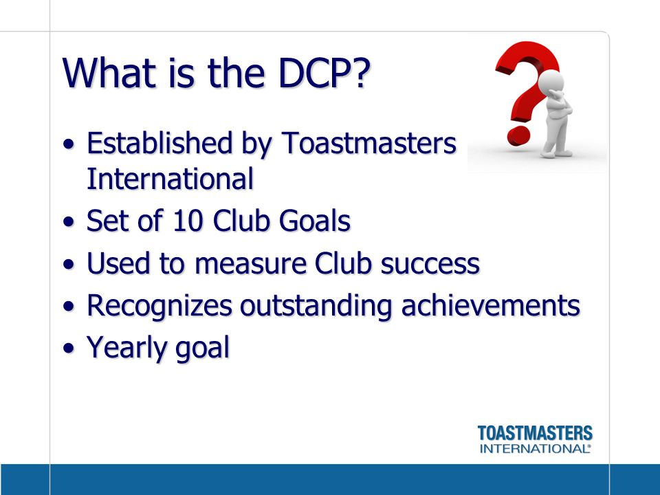 What is the DCP Established by Toastmasters International