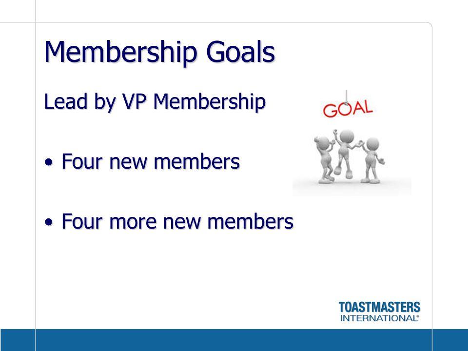 Membership Goals Lead by VP Membership Four new members