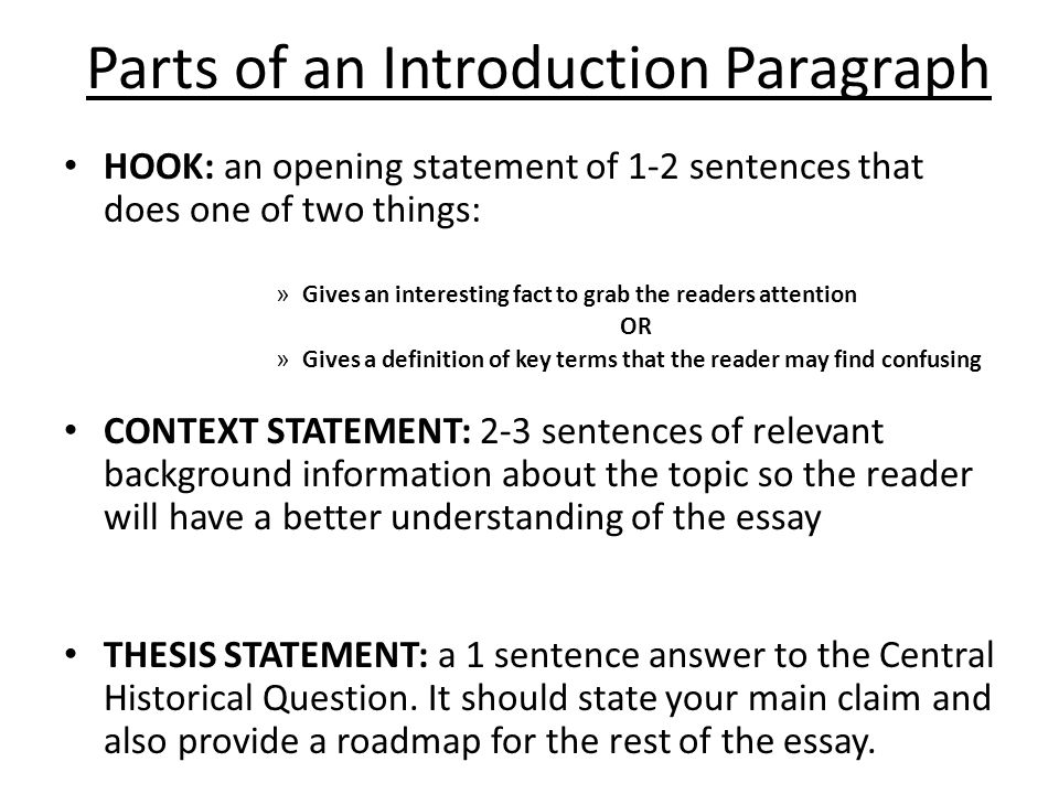 key parts of an essay Key parts of an essay the super sentences an essay must have beginning: the introduction grabs the reader's attention, introduces the topic, and establishes the controlling idea middle.