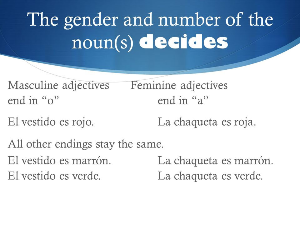 The gender and number of the noun(s) decides