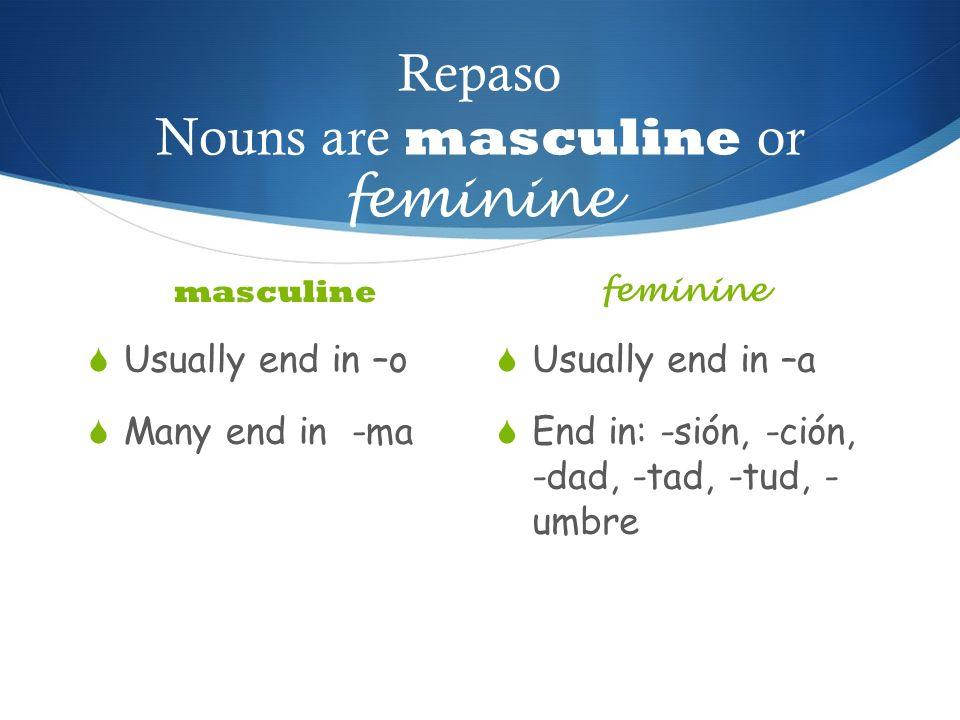 Repaso Nouns are masculine or feminine