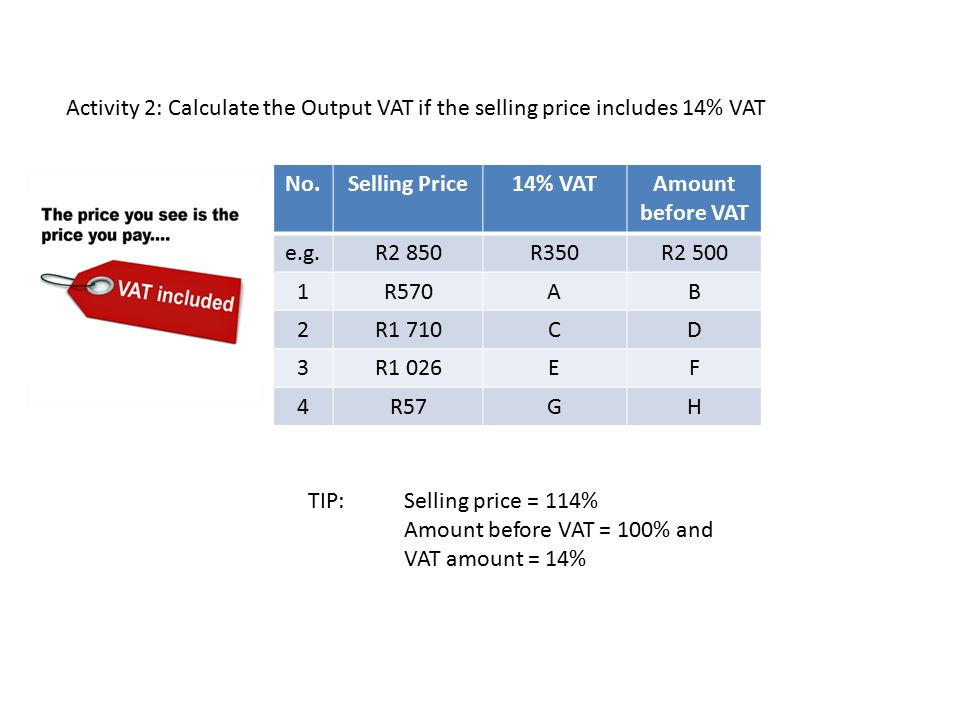 how to add vat to selling price